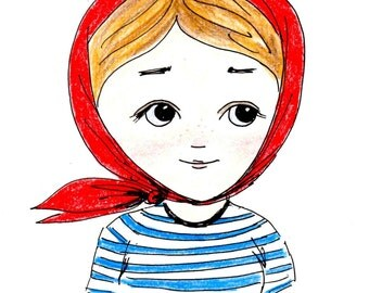 Illustration, portrait , Girl drawing, original drawing, original art, Russian girl illustration, sailor's shirt