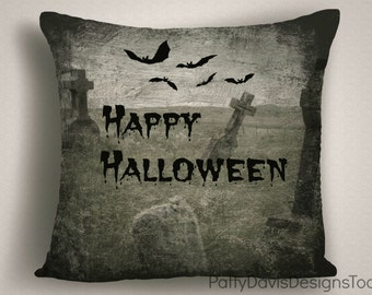 Halloween Pillow Cover with Scary  Cemetery, Halloween Throw Pillows, Designer Halloween Pillow, 14 x 14, 16 x 16, 18 x 18, 20 x 20