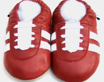 Free shipping Jinwood Soft Sole Leather Baby Shoes Infant Toddler Kids Children Boy Gift Sport Red Shoes
