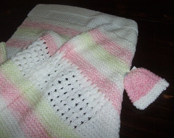 Infant #3 Hand knit infant shawl white, pink and green with matching cap