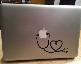 Nurse Heart Stethoscope vinyl decal sticker for Mac laptop, pad, wall...Nursing Student, Nursing graduation gift, new nurse or doctor gift