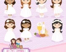 Girls First Communion 1, Girls, Communion, Clipart