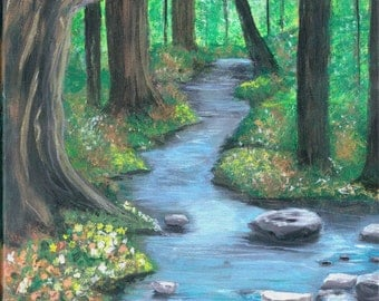 Forest Brook 12x12, Original Acrylic Painting
