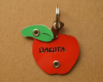 Apple Pet Tag Dog ID Metal Fruit
