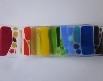 I Can Sing a Rainbow glass art spoon rest