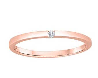 Women's 10K Rose Gold Ring With Diamond
