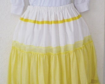 Yellow Gingham Long Skirt, Size M-L Women Clothing, Fashion Skirt, Religious Clothing