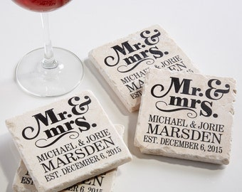 The Happy Couple Personalized Tumbled Stone Coaster Set
