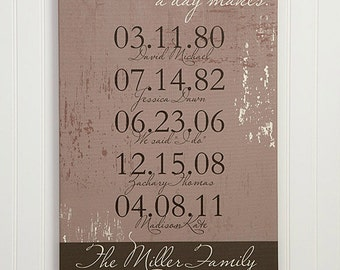 "Special Dates Personalized Canvas Print- 12"" x 18"""