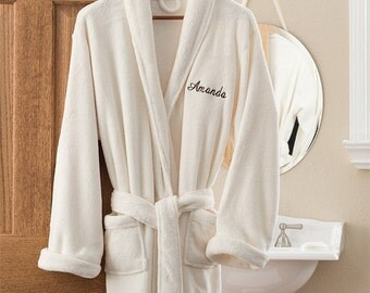 Embroidered Luxury Ivory Fleece Robe