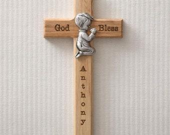 Personalized Wood Cross - Praying Boy