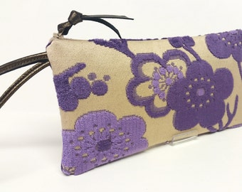 Violet cherry blossom velvet upholstery clutch / Japanese inspired clutch / Fall fabric clutch / Mid century fabric clutch / Baguette clutch