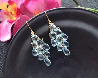 Gold Filled AAA Sky Blue Topaz Chandelier Earrings