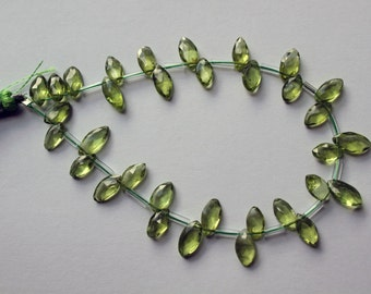 AA Untreated Peridot Hand Faceted Briolette Marquise Drops