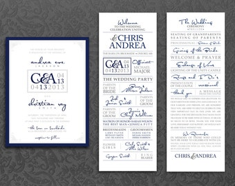 Wedding Ceremony Invitation Kit, Modern Navy Blue Wedding Invite, Logo, Program Front and Back, Digital PDF, personalized wedding invitation