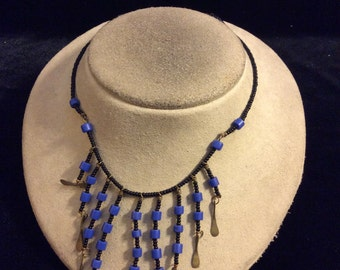 Vintage Shades Of Blue & Black Glass Beaded Necklace