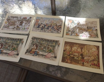 Antique Anton Pieck all different lot of 6 prints pictures lithographs victorian life
