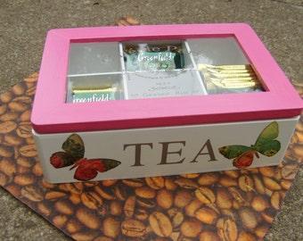 Decoupaged wooden tea box