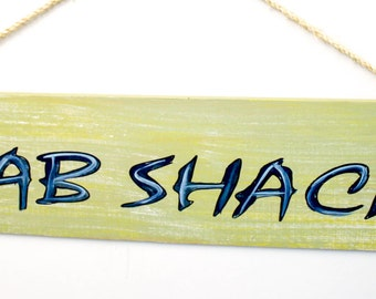 Crab Shack - cypress wood sign with rope hanger
