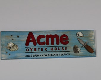 Oyster Bar Sign- handpainted all wood sign with real oyster shells and barnacles as well as a handcarved oyster shucker.