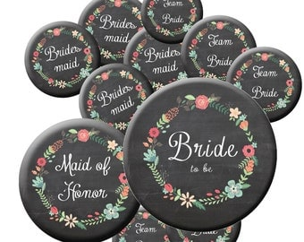 16 Team Bride Buttons - Chalkboard Team Bride - Rustic Wedding Buttons - Bride Button - MOH Button- Bachelorette Party Buttons