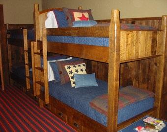 Rustic Double Bunk Beds Made From Reclaimed Material