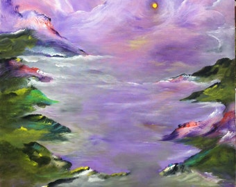 Original Abstract Acrylic Painting-Luna Galla/Floating Moon
