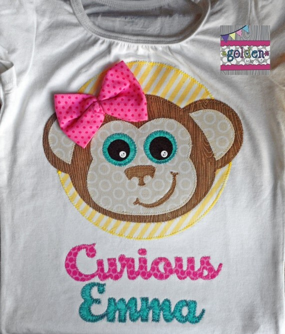 Curious Name Monkey Name Tee with Bow