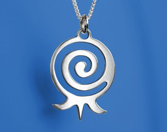 Spiral Pomegranate Necklace - Sterling Silver. Pomegranate represents beauty, grace and wisdom. Can be a wonderful High Holidays gift.