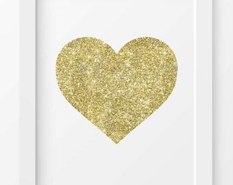 Gold Glitter Heart print, Heart print, Heart printable, Printable wall art, Gold Heart print, Wall art, Love Heart print,Fashion print, Love