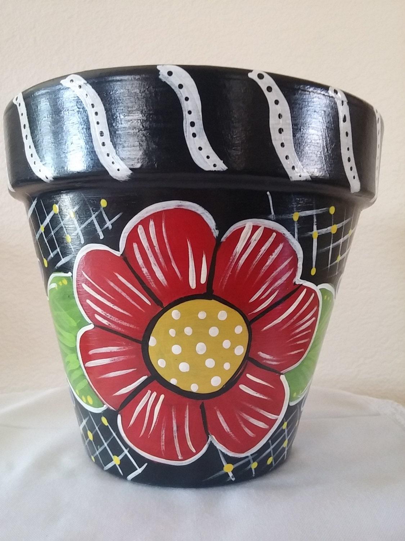 pottery hand painted flower pot teacher gift garden decor. Black Bedroom Furniture Sets. Home Design Ideas
