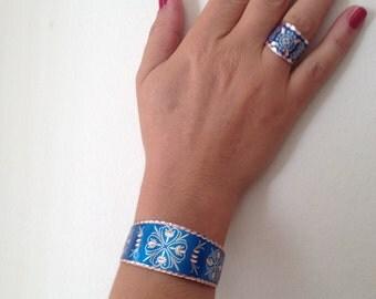 Bracelet , Ring, Copper Bracelet, Copper Ring, Blue Bracelet, Blue Ring, Handmade Bracelet, Handmade Ring, Gift for  Her