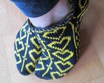 Rustic Crochet Socks, Grandma SOcks, Yellow Black Slippers