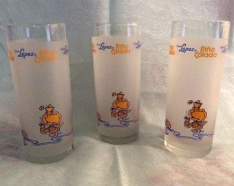 Coco Lopez Pina Colada Glasses, Set of 3 Coco Lopez Glasses