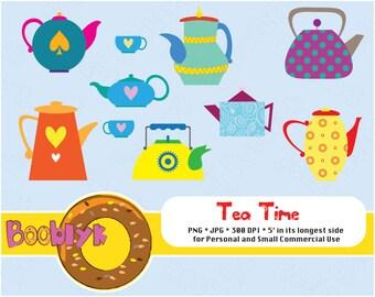 Tea Time Clip Art Set of 8 Kettles Images - Instant Download