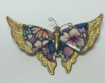 Pretty Floral Butterfly Blue, Purple, and Apricot Pin Brooch 9035