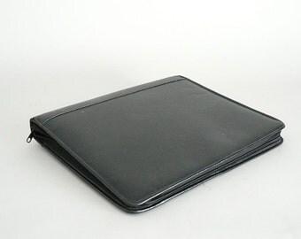 Black Leather Vintage Notebook Binder Portfolio