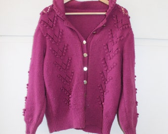 1980s Vintage Bobble Knit Cardigan Hand Knitted