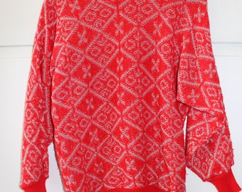 Vintage 1980s Red Sparkly Jumper | Size 8 10 12