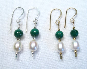 Lyn's Jewelry Malachite and Freshwater Pearl Drop Earrings Silver or Gold