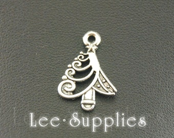 10pcs Antique Silver Alloy Christmas Tree Charms Pendant A790