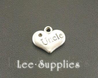 10pcs Antique Silver Heart Letter Uncle Charms Pendant A579