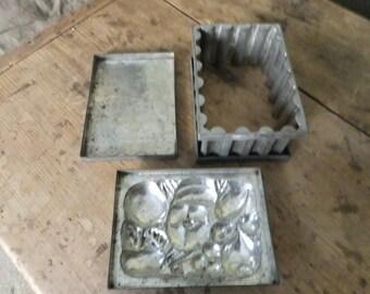 Tin mold. 3 Piece.  Antique.  Farmhouse collectible.  Primitive food mold. Jello mold. SALE was 39.00