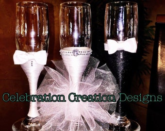 bridal champagne toast glasses