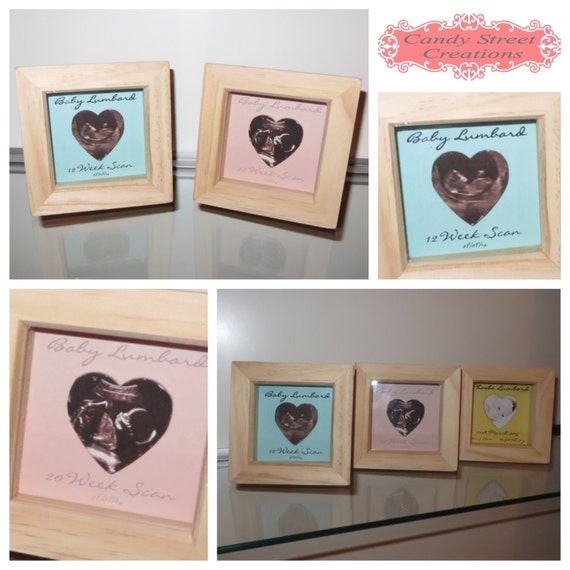 New Baby Gift - Set Of 3 Frames, First Scan, Second Scan and First Photo all personalised with dates, names, weight,time