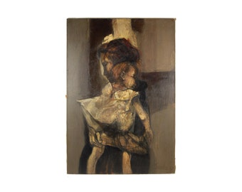 1960's Large Moody Italian Oil Painting Mother and Infant Child Giorgio Scalco