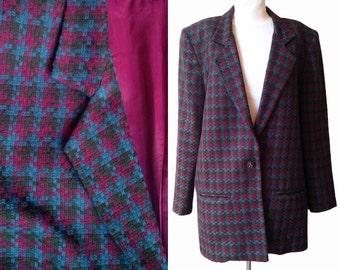 Oversize Blazer Houndstooth check mtv vintage Eighties 1980s 80s talking heads new wave jacket size 8 10 medium