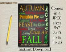 Thanksgiving Decor Word Art, Fall Autumn Wall Art, Typography, Subway Art, Instant Download, Thanksgiving, Fall Decor, Autumn Subway Art DIY