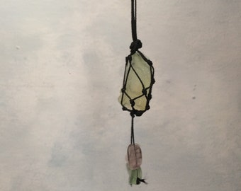 Green Quartz Macrame Knotted Crystal Healing Necklace