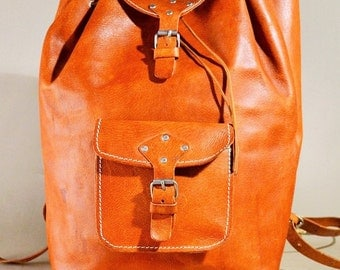 Vintage Cognac Leather Backpack, Rucksack